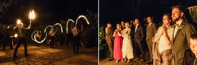 Hochzeit, Feuershow, santinys