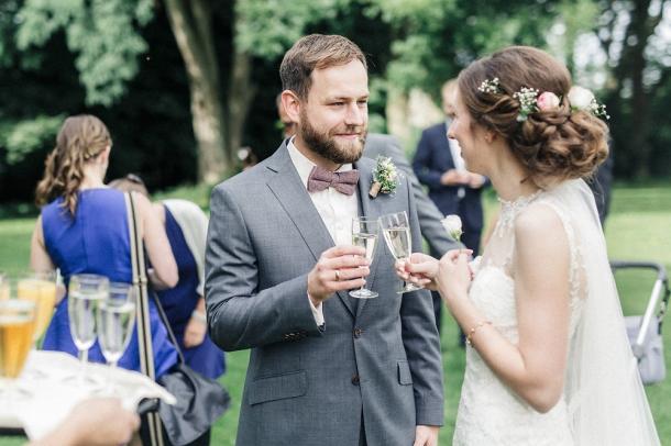 Hochzeit, Brautpaar, Sektempfang